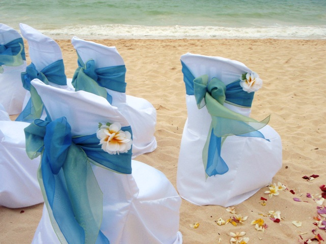 Chairs can be further decorated with clip-on silk flowers or fresh stemmed flowers & Chairs Covers u0026 Sashes