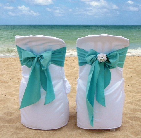 One Of Our Favorite Satin Sash Colors; Turquoise Satin Sash On A White Chair  Cover